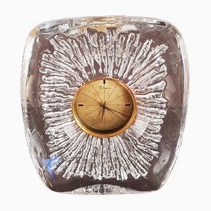 Vintage Crystal Clock with Swiss Movement from Daum