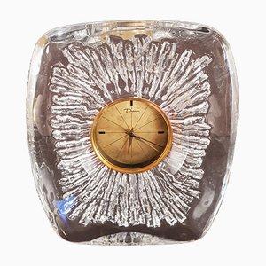 Vintage Uhr aus Kristallglas mit Schweizer Uhrwerk von Daum