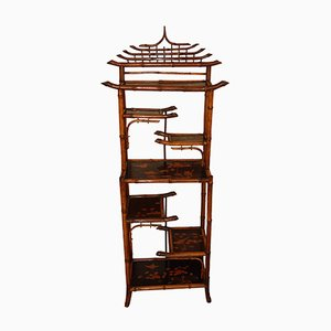 19th-Century Bamboo Bibus Shelf and Lacquer Panels
