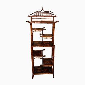 Estantería Bibus de bambú con estantes esmaltados del siglo XIX