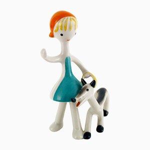 Vintage Art Deco Figurine aus Porzellan von Hollóháza