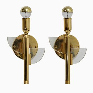 Vintage Gilded Brass & Glass Sconces by Gaetano Sciolari for Sciolari, 1960s, Set of 2