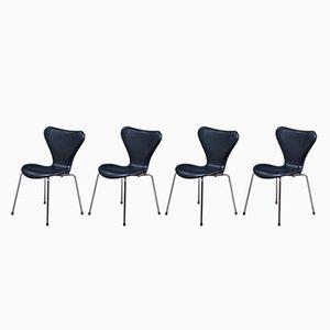 Model Seven 3107 Black Leather Chairs by Arne Jacobsen for Fritz Hansen, 1980s, Set of 4