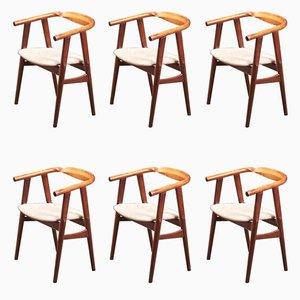 GE525 Esszimmerstühle von Hans J. Wegner für Getama, 1960er, 6er Set