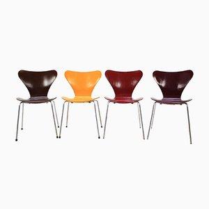 Sillas serie 7 vintage de Arne Jacobsen para Fritz Hansen, 1973. Juego de 4