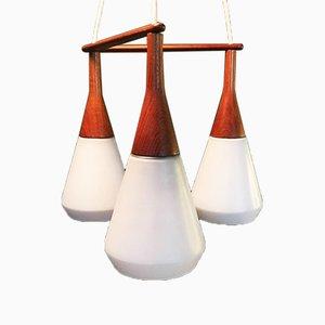 Lámpara de araña triple Mid-Century de Holmegaard