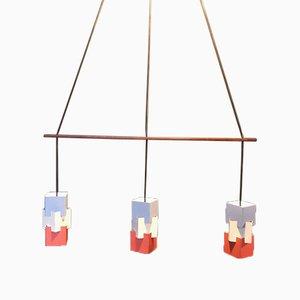 Triple Lampe à Suspension Vintage par Johannes Hammerborg pour Fog & Mørup, Danemark, 1961