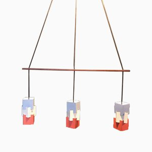 Vintage Danish Triple Pendant Light by Johannes Hammerborg for Fog & Mørup, 1961