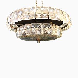 Lámpara de araña Mid-Century de cristal tallado de Kinkeldey