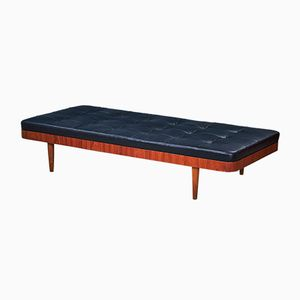 Vintage Teak & Black Aniline Leather Daybed, 1960s