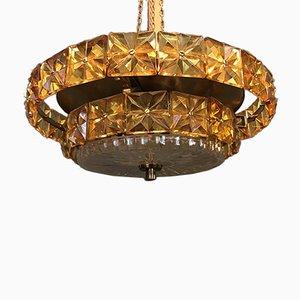 Lámpara de araña austriaca vintage en dorado y ámbar de Kinkeldey
