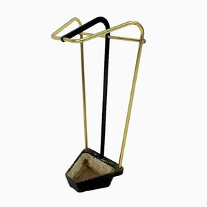 Vintage Austrian Brass & Iron Umbrella Stand, 1950s