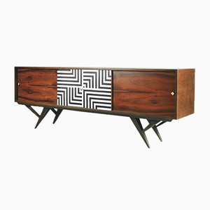 Mid-Century Rosewood & Labyrinth Pattern Sideboard, 1960s