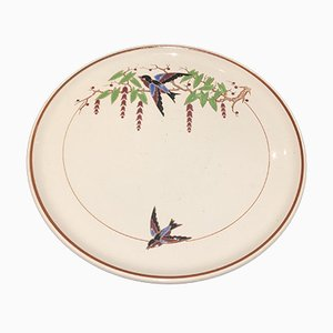 Large Vintage Bengali Plate with Bird Motif from Longwy