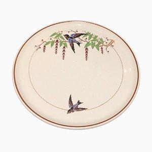 Plato Bengali vintage grande con motivos de pájaros de Longwy