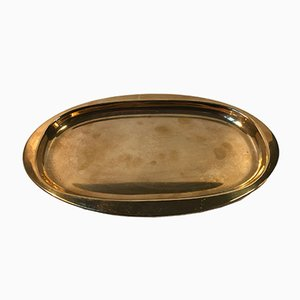 Mid-Century Danish Oval Brass Tray from Cohr, 1950s