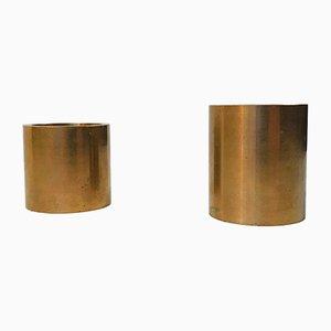 Bases para velas de té danesas Mid-Century de bronce, años 60. Juego de 2