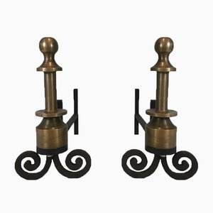 Tall Bronze & Wrought Iron Andirons, 1940s, Set of 2