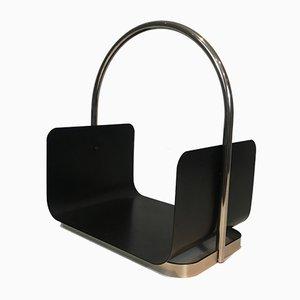 Holzkorb aus Chrom & schwarzem Metall, 1970er