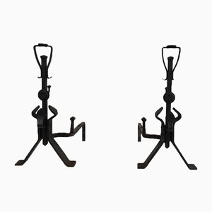 Arts & Crafts Wrought Iron Andirons, 1930s, Set of 2
