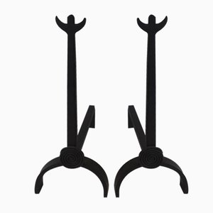 Wrought Iron Andirons, 1970s, Set of 2