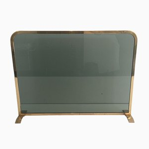 Brass and Tempered Glass Fireplace Screen, 1970s
