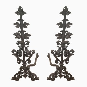 Late 19th-Century Wrought Iron Andirons, Set of 2