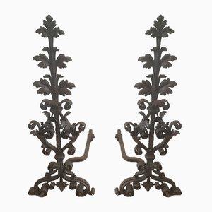 Morillos de hierro forjado de finales del siglo XIX. Juego de 2