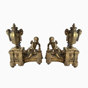 Chiseled Andirons, 1850s, Set of 2