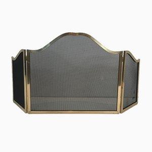 Pantalla de chimenea con rejilla de metal, años 70