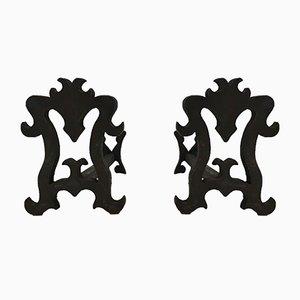 Kaminböcke aus geschmiedetem Gusseisen, 1940er, 2er Set