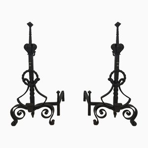Wrought Iron Andirons, 1900s, Set of 2