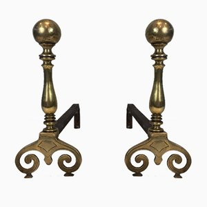 18th-Century Bronze and Iron Andirons, Set of 2