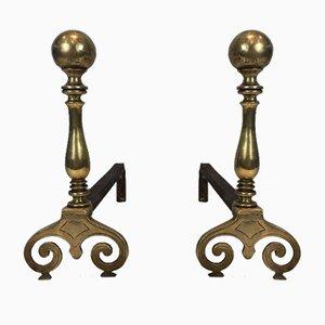 Andironen aus Bronze & Eisen, 18. Jh., 2er Set