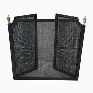 Pantalla de chimenea vintage de acero y latón con rejilla, años 40