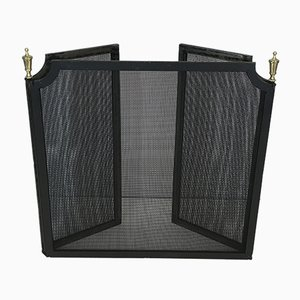 Vintage Steel, Brass and Grill Fireplace Screen, 1940s