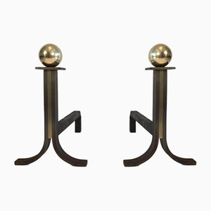 Modernist Steel, Iron, and Brass Andirons, 1940s, Set of 2