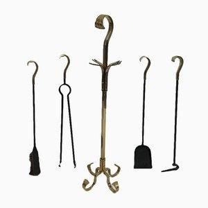 Accessori da camino in bronzo e ferro, anni '70