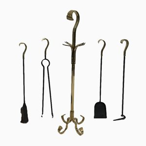 Herramientas para chimenea de bronce y hierro, años 70