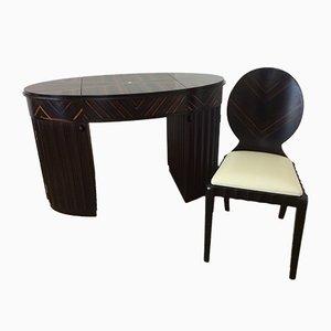 Tocador Art Déco estilo Macassar con silla, años 80