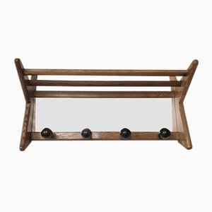 Mid-Century Wall Coat Rack with Mirror by Guillerme et Chambron