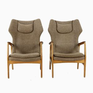 Teak and Oak Wingback Chairs by A.B. Madsen & E. Larsen for Bovenkamp, 1965, Set of 2