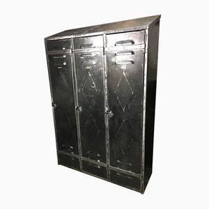 Vintage Industrial Three-Door Locker, 1930s