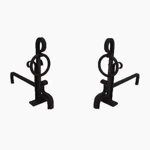 Arts & Crafts Wrought Iron & Brass Andirons, 1900s, Set of 2