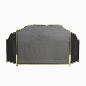Pantalla de chimenea de metal dorado latón y rejilla, años 40