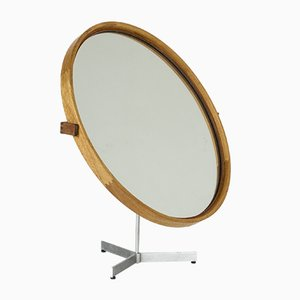 Oak Table Mirror by Uno & Östen Kristiansson for Luxus, 1950s