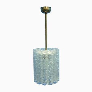 Mid-Century Ice Glass Ceiling Lamp from Doria Leuchten