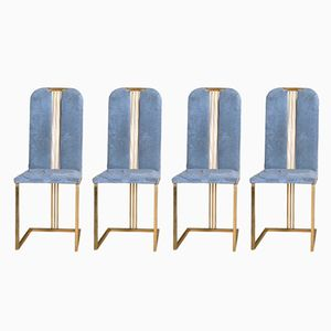 Velvet and Gold Iron Chairs by Pierre Cardin, 1970s, Set of 4