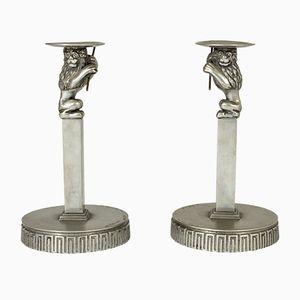 Kerzenhalter aus Zinn von Anna Petrus für Herman Bergman, 1920er, 2er Set