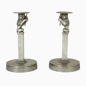 Pewter Candleholders by Anna Petrus for Herman Bergman, 1920s, Set of 2